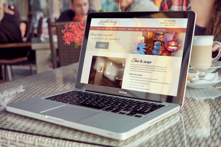 Nufire Marketing website design for Everlasting Massage